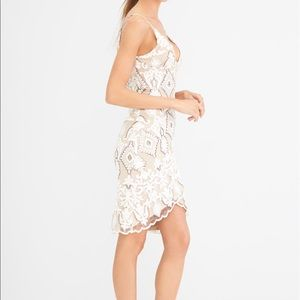 4SI3NNA Embroidered Fitted Lace Sequins Mini Dress